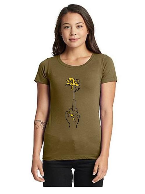 Finger Flower ladies t-shirt - green
