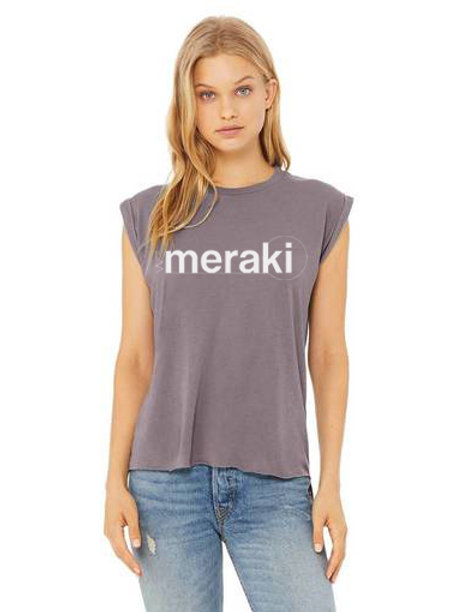ladies WeMeraki flowy muscle t-shirt - storm