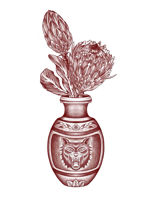 Wolf Vase - tattoo deposit