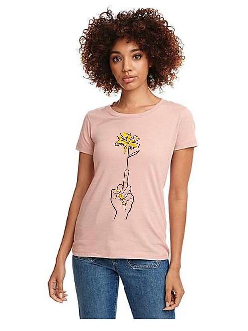 Finger Flower ladies t-shirt - pink
