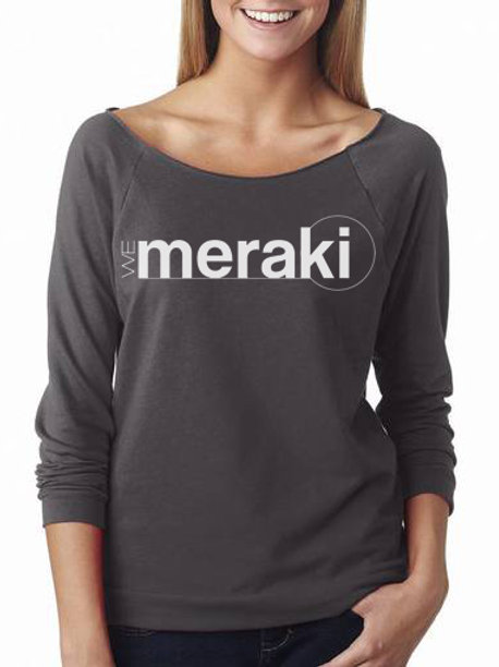 ladies WeMeraki french terry 3/4 sleeve raglan - dark gray
