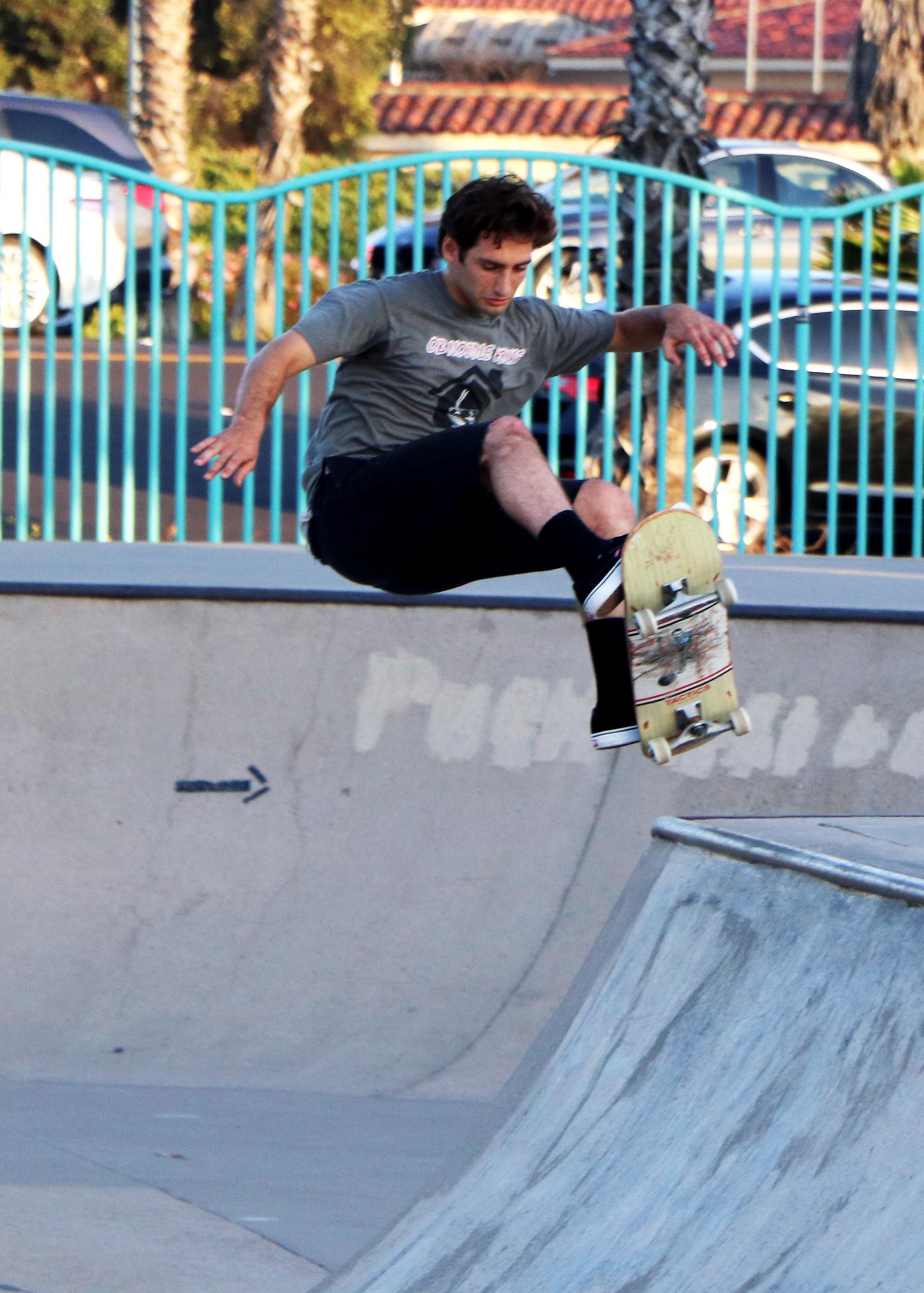 Skateboarder at Robb Field Skate Park in San Diego