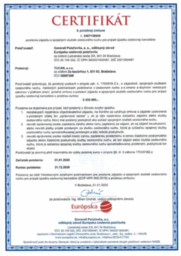 Certifikat k poistnej zmluve_ Poistenie