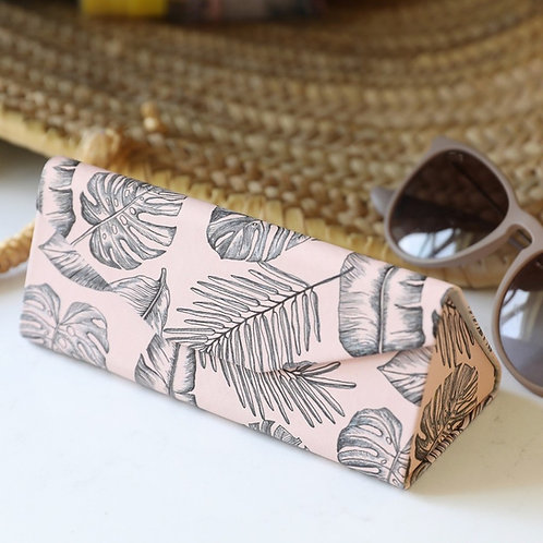 Lisa Angel - Pink Palm Print Foldable Glasses Case