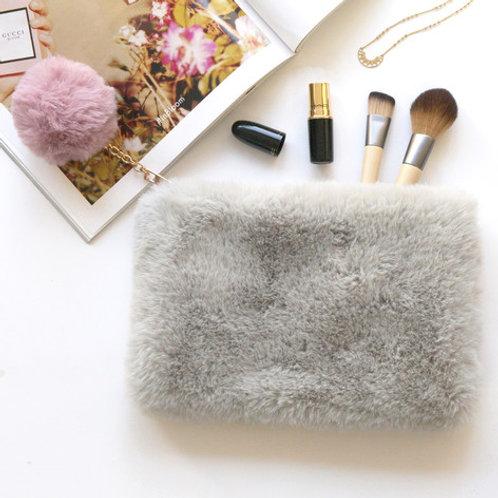 Lisa Angel - Faux Fur Grey and Pink Pom Pom Bag