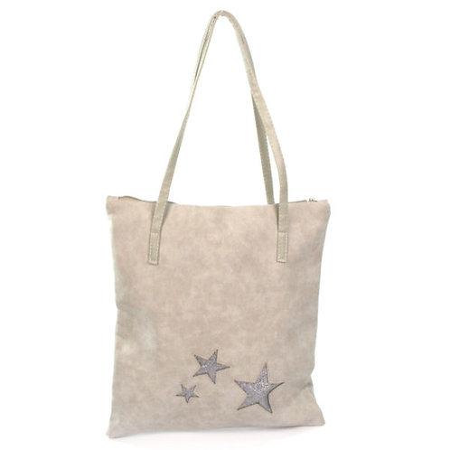 Stars Handbag – Faux Suede - Grey