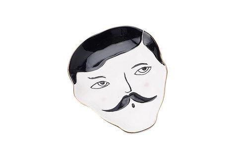 Dapper Chap Ceramic Face Trinket Dish - Moustache