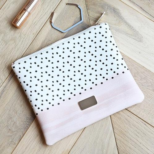 Wash Bag - Black Polka Dot & Blush Design