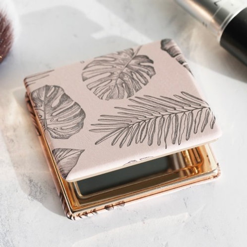 Lisa Angel - Pink Palm Print Compact Mirror