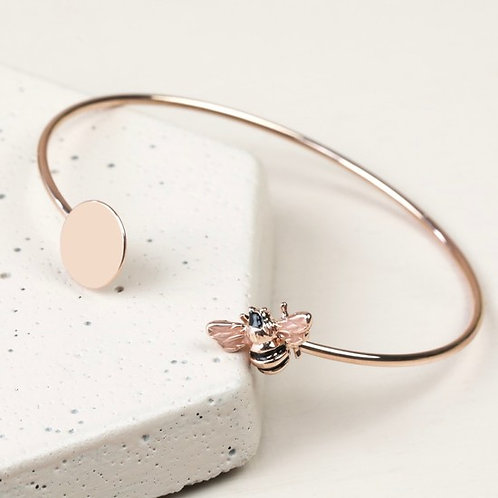 Lisa Angel Disc and Bee Open Bangle in Rose Gold