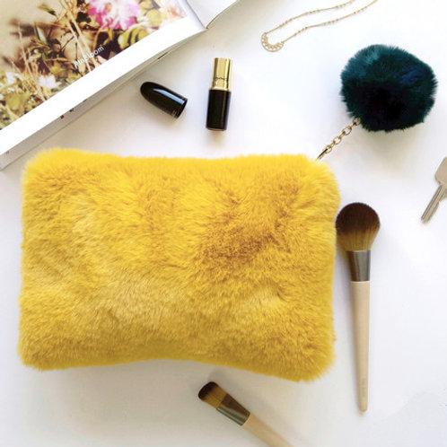 Lisa Angel - Faux Fur Mustard and Teal Pom Pom Bag