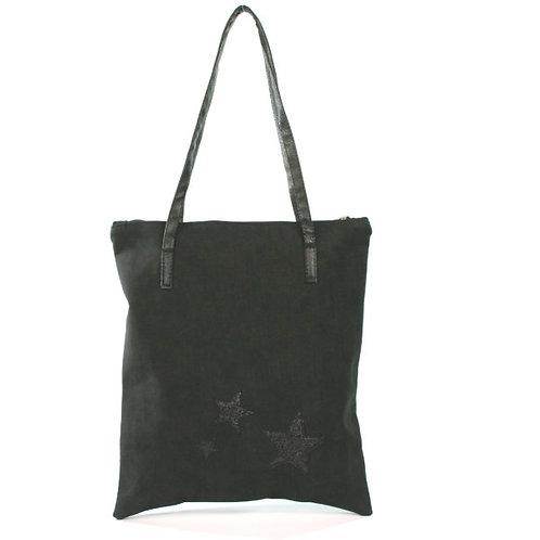 Stars Handbag – Faux Suede - Black