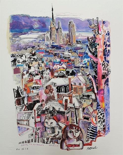 Grande vue plongeante Rouen - Estampe numérigraphique -65x50cm