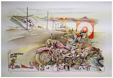 Authouart - On the Road - 53x73.5 cm - Lithographie Originale et signée