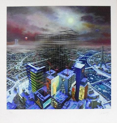 Vervisch - La Tour de Babel Le Grand Paris - Estampe numérigraphique - 90x84.
