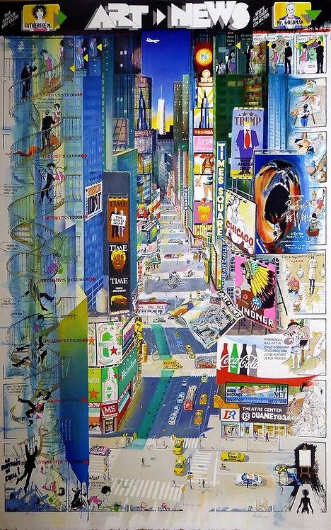 Authouart - Art News - 116x76 cm - Lithographie originale et signée