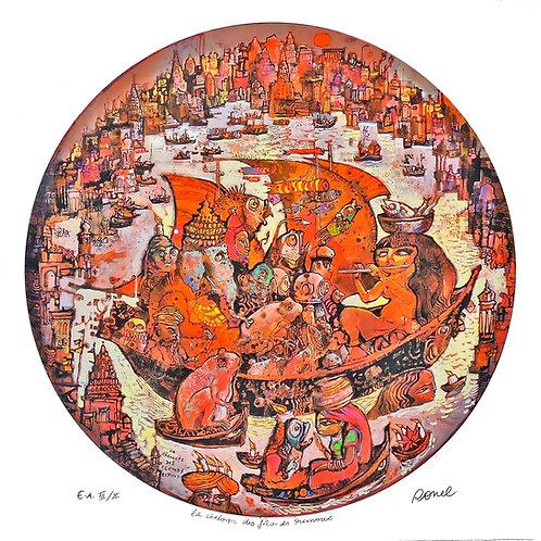 Ronel - La chaloupe des fréquents remous - Estampe numérigraphique - 70x70 cm