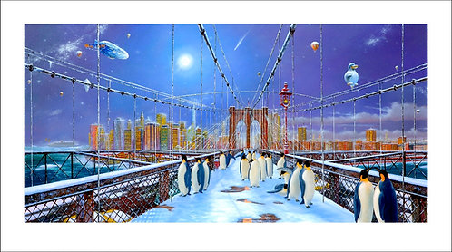 Vervisch - Brooklyn Bridge Pinguin - Estampe numérigraphique - 63x111 cm