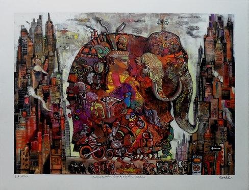 Ronel - Pachydermine Grande machine urbaine - Estampe numérigraphique - 67x87 cm