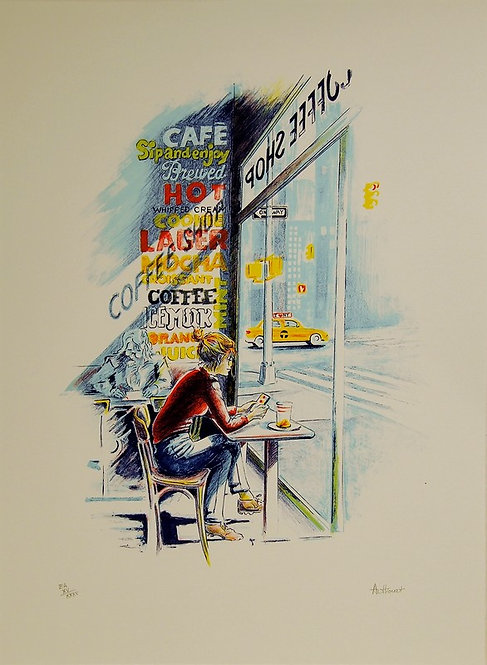 Authouart - Coffee Shop - 60x46 cm - Lithographie originale et signée