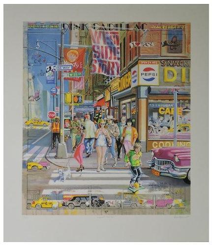 Authouart - Pink Cadillac - 76x62 cm - Lithographie originale et signée