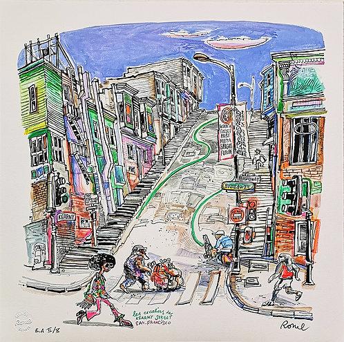 Ronel - Escaliers de Kearny Street - San Francisco - Est numérigraphique - 50x50