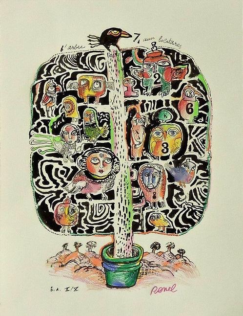Ronel - L'arbre aux 7 locataires - Estampe numérigraphique - 52x40 cm