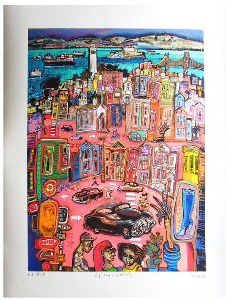 Ronel - Zig Zag à Sweet City - Estampe numérigraphique - 87x70 cm