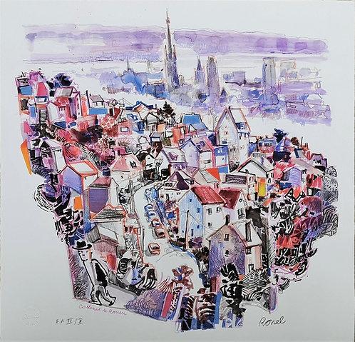 Collines de Rouen - Estampe numérigraphique - 50x50 cm