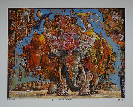 Ronel - De mémoire d'éléphant - Estampe numérigraphique - 70x87 cm