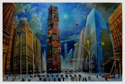 Vervisch - La petite géante à New York - Estampe numérigraphique - 79x112 cm