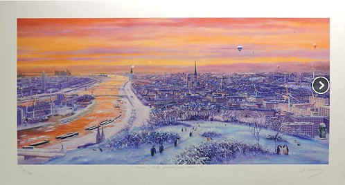 Vervisch - Rouen Ville panoramique XXL - Estampe numérigraphique - 55x98 cm