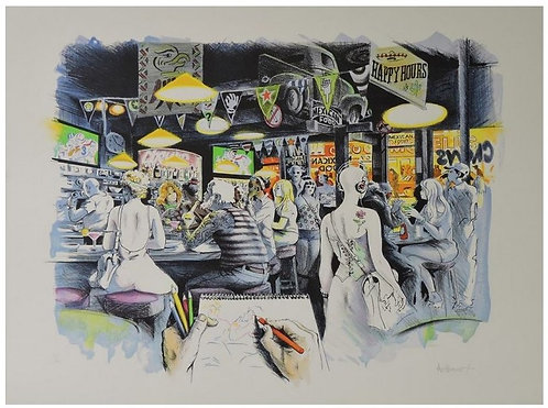 Authouart - Happy Hours - 51x65 cm - Lithographie originale et signée