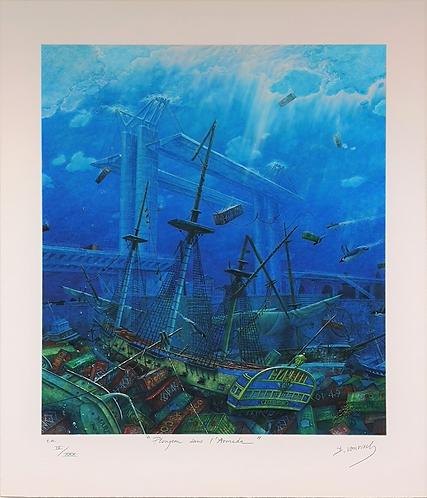 Vervisch - Plongeon dans l'Armada - Estampe numérigraphique - 67x56 cm