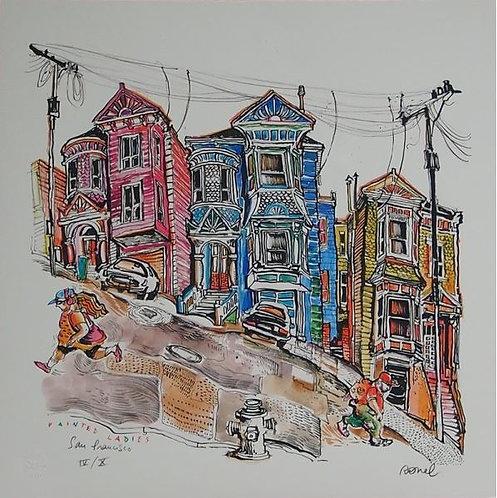 Ronel - San Francisco-Painted Ladies - Estampe numérigraphique - 50x50 cm