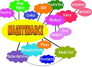 Graphic of Maintenance issues: security, pagesm links, SEO, analytics, sales, product, coupons, specials, email list, blogs, contacts, newsletters, subscriptions