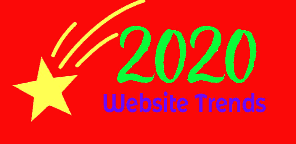 Red background with yellow star: text=2020 website trends