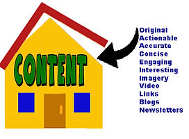 House labeled CONTENT with roof opening with list of content concerns: original, actionable, accurate, concise, engaging, nteresting, imagery, video, links, blogs, newslet