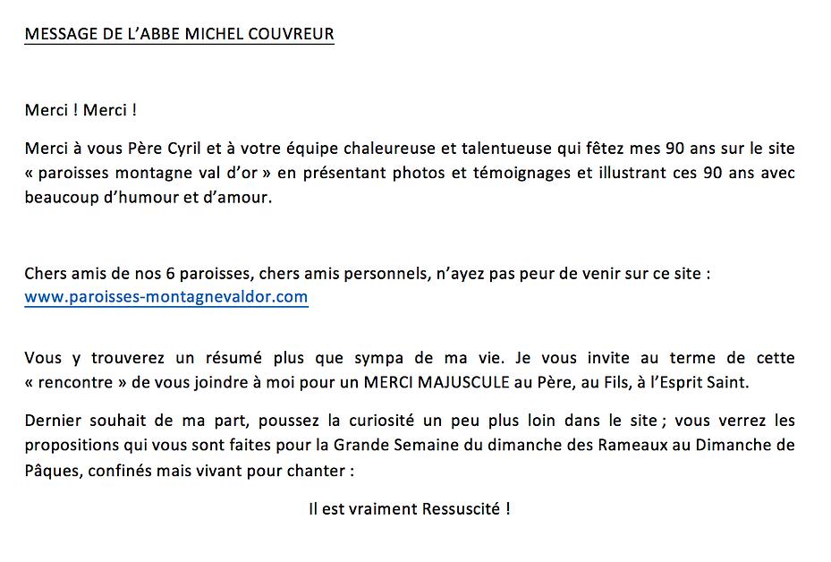 Merci MICHEL COUVREUR