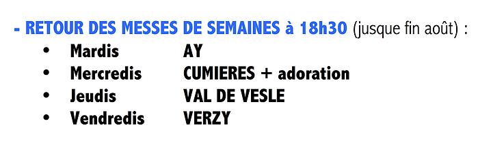 MESSES DE SEMAINE