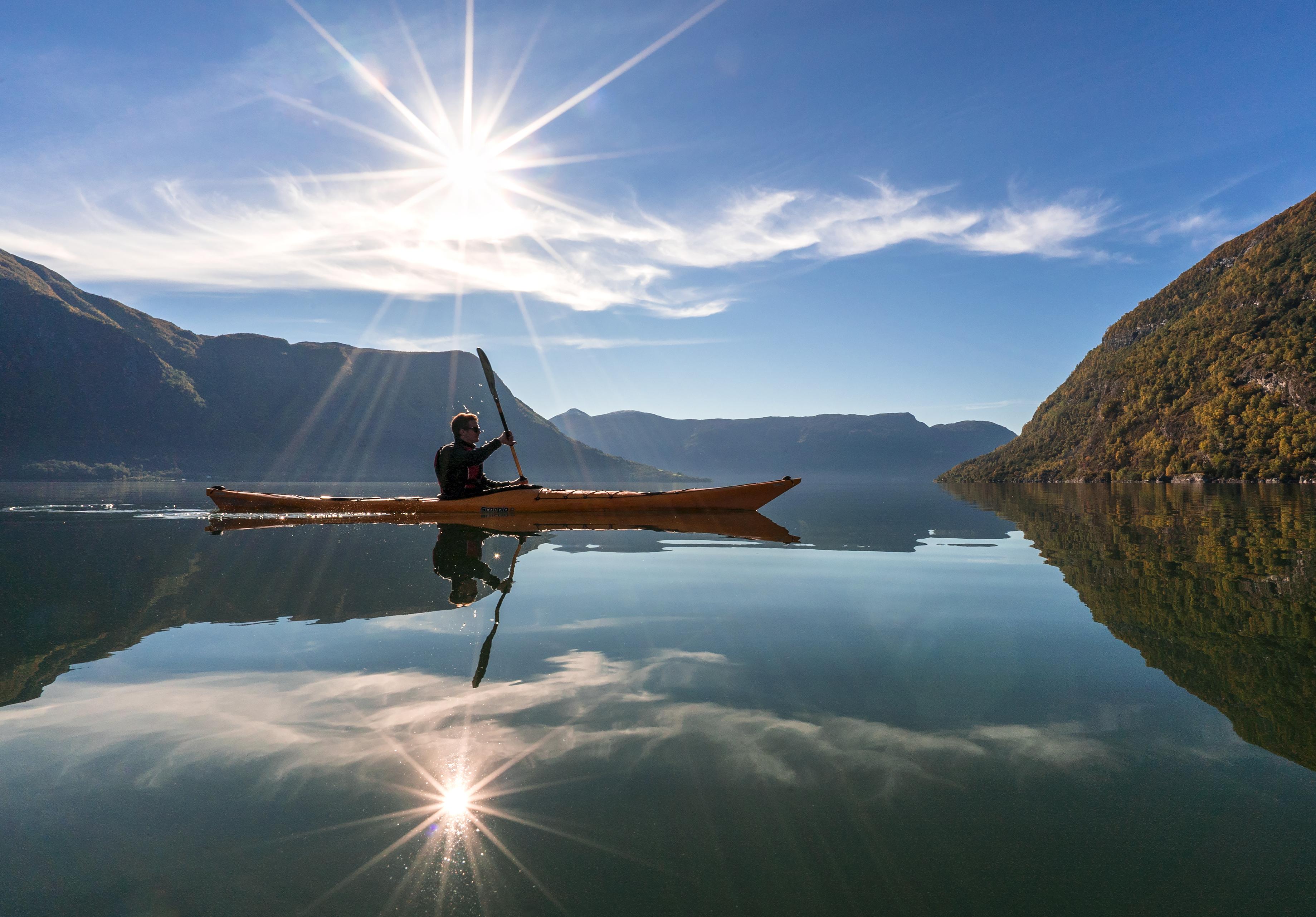 Kayakking in Lustrafjorden, Norway