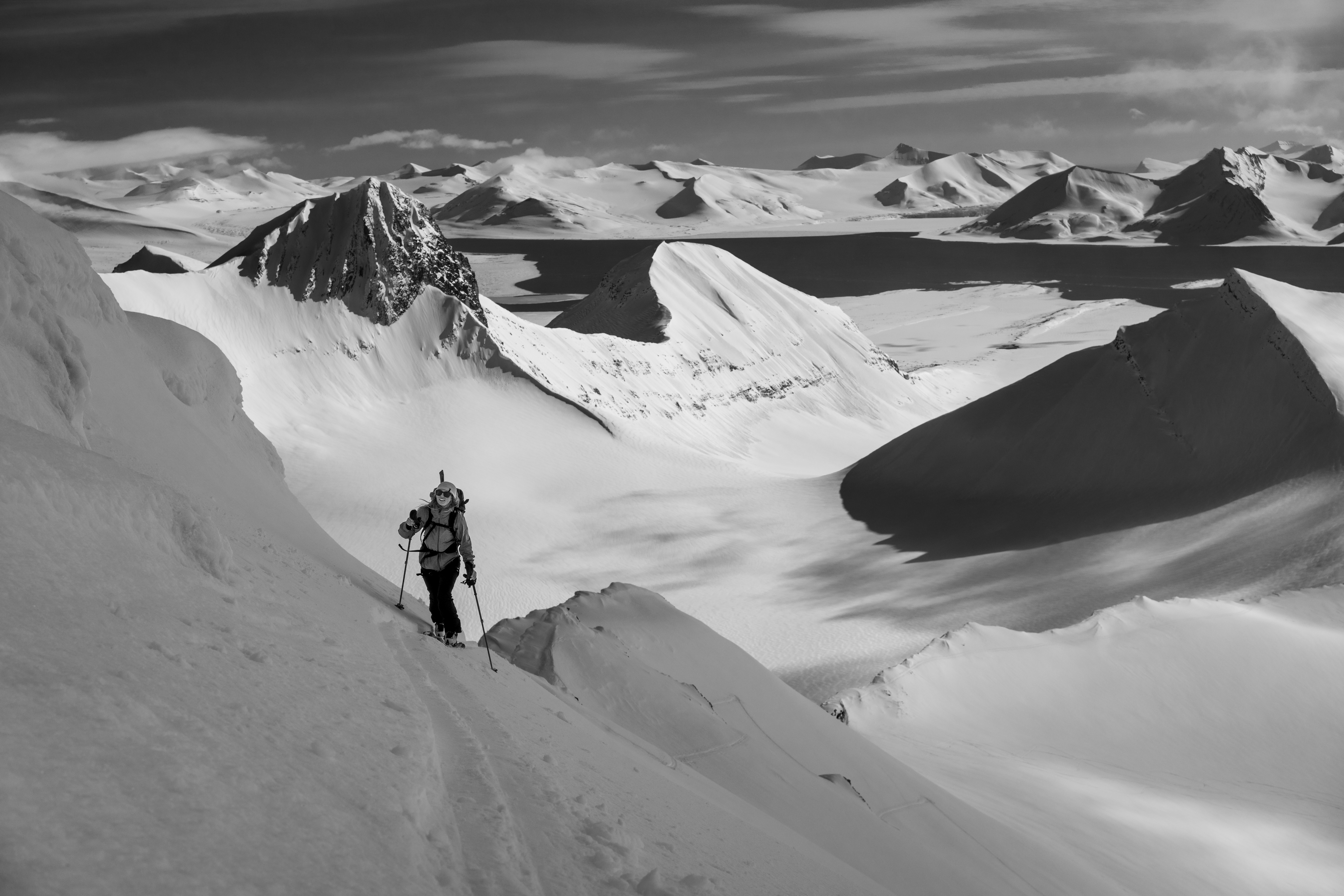 Skiing in the Mountains of Svalbard