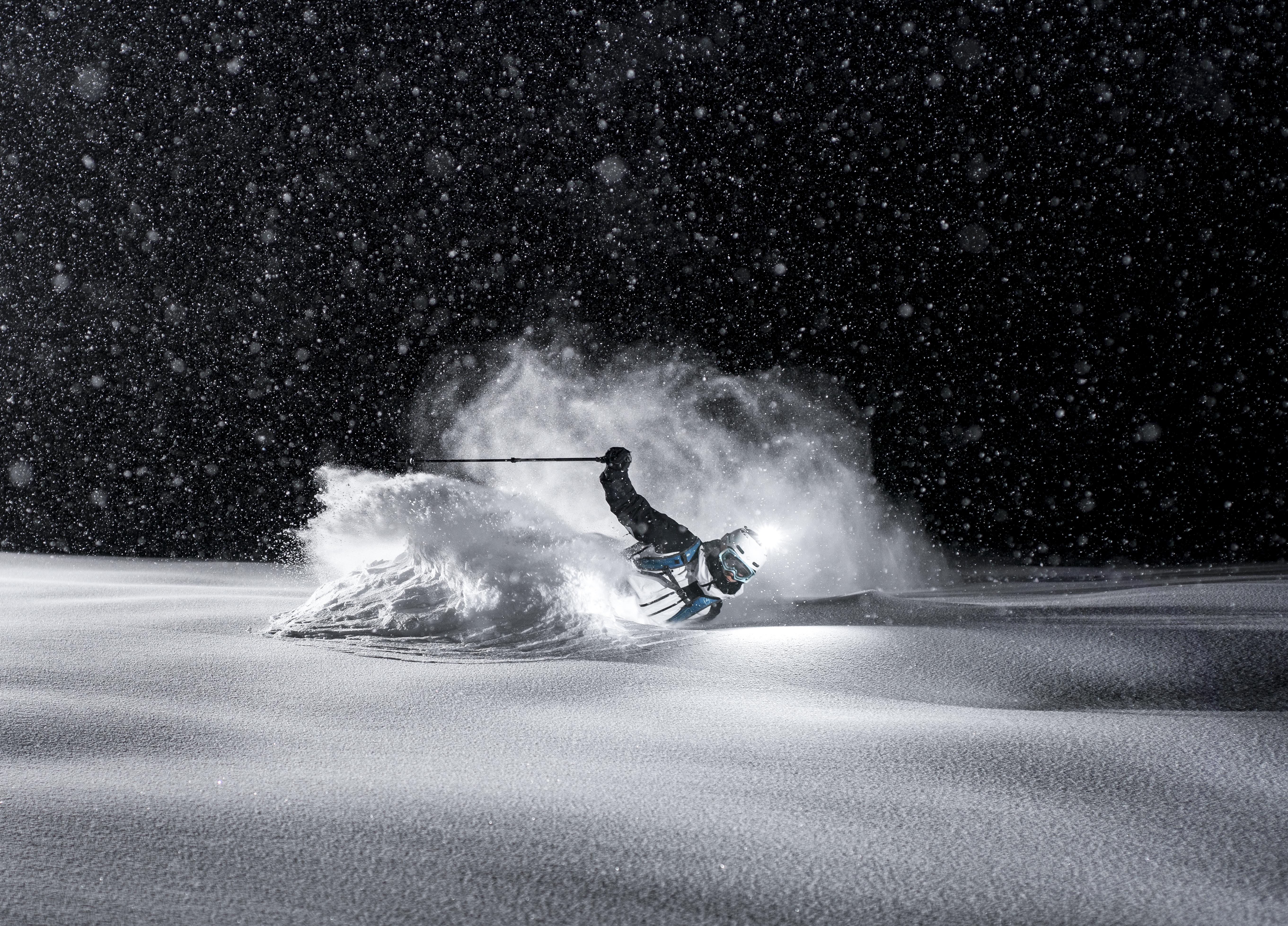 Powder skiing at night