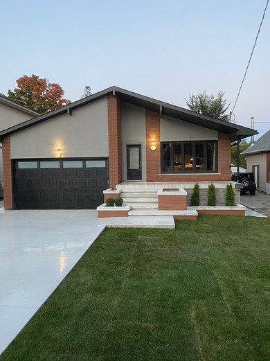 Driveway and Front Porch with Limestone Finish