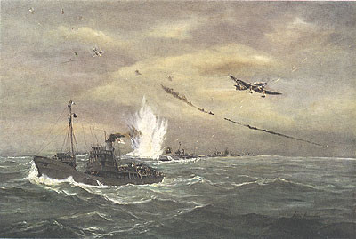 Painting of Minesweepers under Attack, Thames Estuary, October 1940