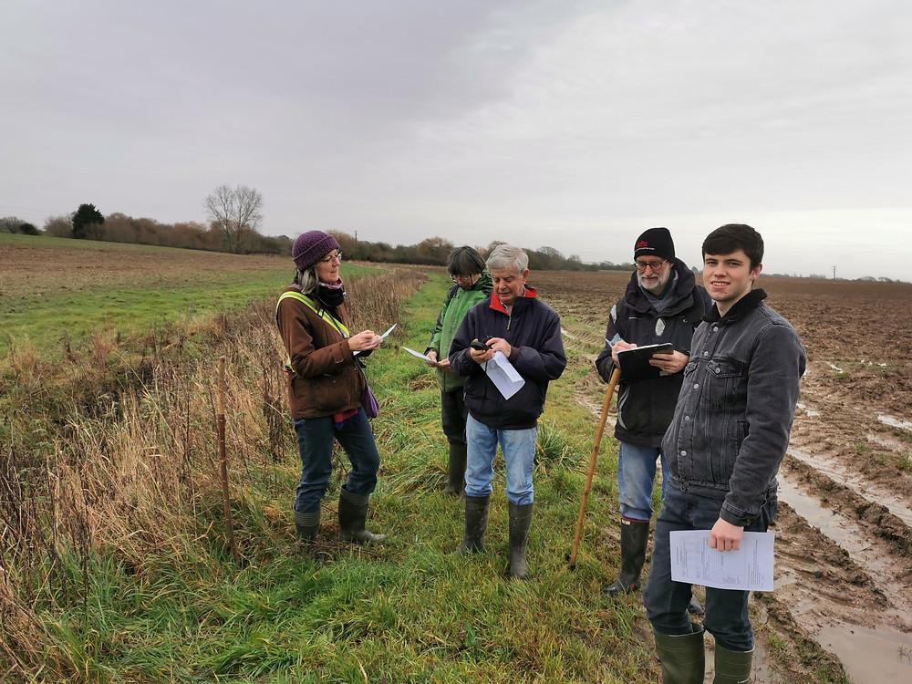 MWHG volunteers surveying in a field