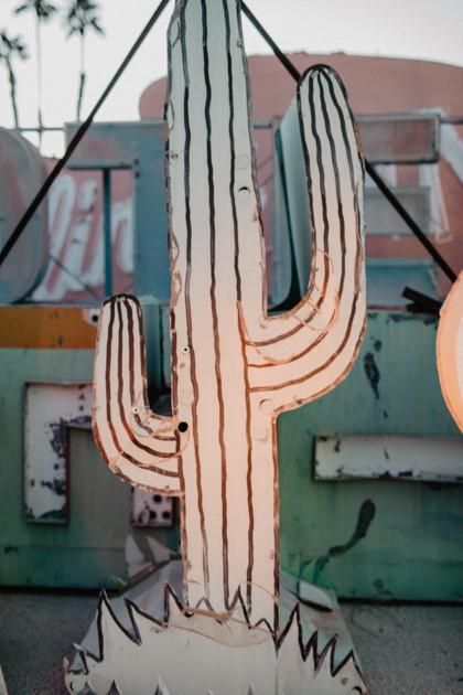 cactus vintage neon sign. Neon Boneyard in Las Vegas Nevada, colorful vintage neon signs arranged, captured by las vegas elopement photographer hayway films.