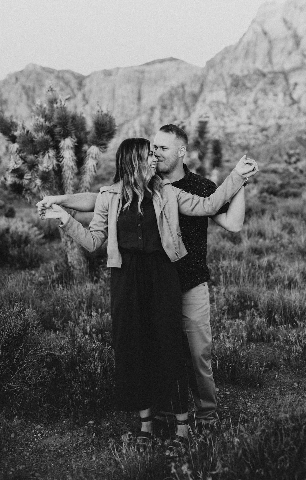 beautiful black and white engagement pictures in the joshua tree national park