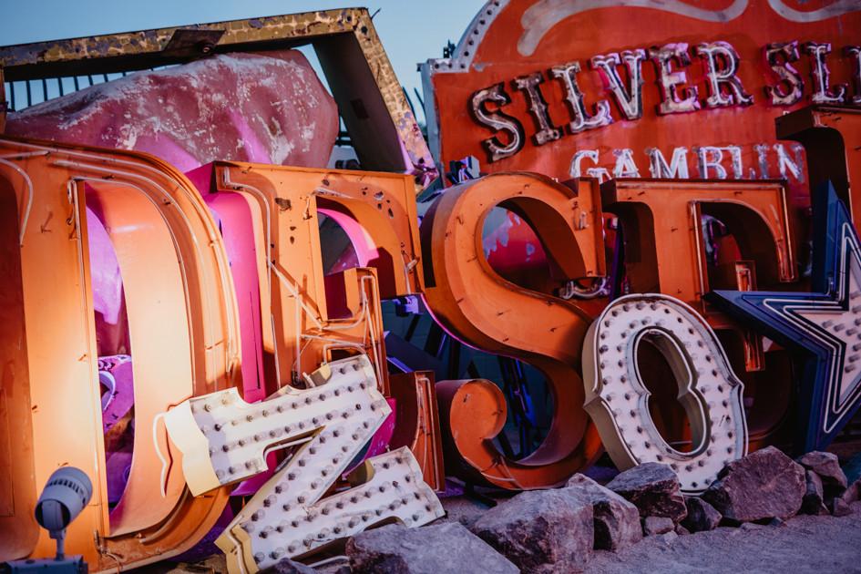 Neon Boneyard in Las Vegas Nevada, colorful vintage neon signs arranged, captured by las vegas elopement photographer hayway films.