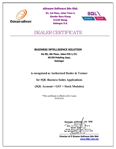 SQL Accounting Software Authorised Agent Reseller Certificate